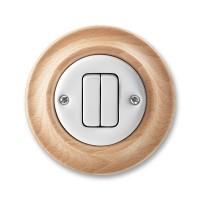 vypínač č.5 ABB Decento biely/prírodný buk 3559K-C05345 50 kompletný