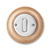 vypínač č.6 ABB Decento biely/prírodný buk 3559K-C06345 50 kompletný