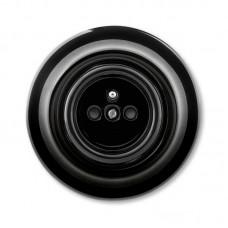 zásuvka ABB Decento s clonkami čierna 5519K-C02357 N s plastovou dutinou kompletná