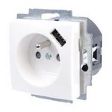 zásuvka s USB nabíjačkou ABB Basic55 2017-0-0878 biela