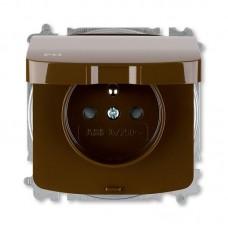 zásuvka IP44 ABB Tango 5519A-A02997 H hnedá s clonkami a viečkom