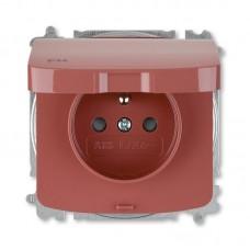 zásuvka IP44 ABB Tango 5519A-A02997 R2 vresová červená s clonkami a viečkom