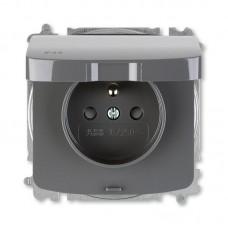 zásuvka IP44 ABB Tango 5519A-A02997 S2 dymová šedá s clonkami a viečkom