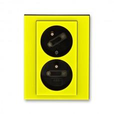 dvojzásuvka s clonkami ABB Levit 5513H-C02357 64 žltá/dymová čierna bezskrutková natočená