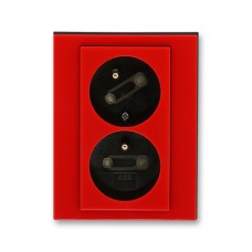 dvojzásuvka s clonkami ABB Levit 5513H-C02357 65 červená/dymová čierna bezskrutková natočená