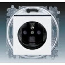 zásuvka s clonkami ABB Levit 5519H-A02357 62 biela/dymová čierna bezskrutková