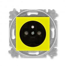 zásuvka s clonkami ABB Levit 5519H-A02357 64 žltá/dymová čierna bezskrutková