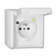 zásuvka s prúdovým chráničom IP44 biela ABB 5526N-C26410 B na povrch
