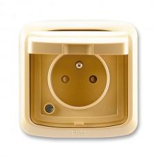 zásuvka IP44 kompletná ABB Tango 5518A-2999 D béžová s clonkami a viečkom