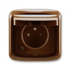 zásuvka IP44 kompletná ABB Tango 5518A-2999 H hnedá s clonkami a viečkom