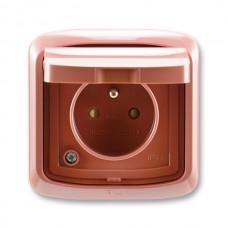 zásuvka IP44 kompletná ABB Tango 5518A-2999 R2 vresová červená s clonkami a viečkom