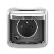 zásuvka IP44 kompletná ABB Tango 5518A-2999 S2 dymová šedá s clonkami a viečkom
