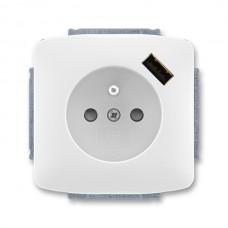 zásuvka s USB nabíjačkou ABB Tango 5569A-A02357 B biela