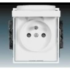 biela zásuvka s viečkom ABB Time/Element 5519E-A02397 03