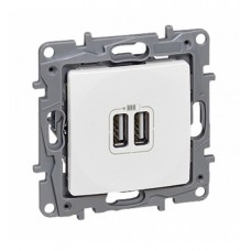 zásuvka USB nabíjačka dvojitá Legrand Niloé 764594 biela