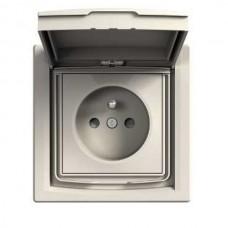 zásuvka IP44 s clonkami Schneider Asfora EPH2800321 biela kompletná