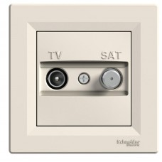 TV SAT zásuvka koncová Schneider Asfora EPH3400123 krémová kompletná