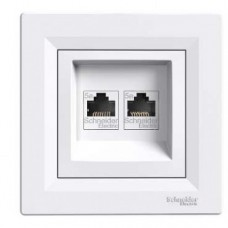 dátová dvojzásuvka UTP kat6 Schneider Asfora EPH4800121 biela kompletná