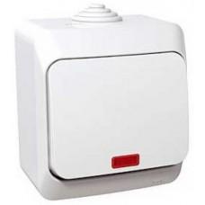 vypínač č.6 s orientačným podsvietením IP44 biely Schneider Cedar plus WDE000561 na povrch
