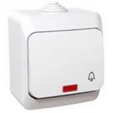 tlačidlo č.1/0 so symbolom zvončeka podsvietené IP44 biele Schneider Cedar plus WDE000515 na povrch