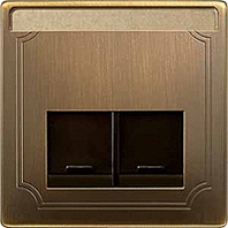 kryt antique brass pre dátovú zásuvku 2xRJ45 Schneider Merten MTN466643 System Design