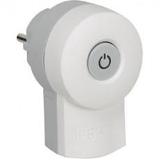 vidlica 16A s vypínačom a podsvietením Legrand 050409 biela/šedá
