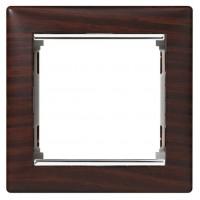 wenge/strieborný prúžok 1 rámik Legrand Valena hliník 770371