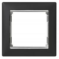 čierny/strieborný prúžok 1 rámik Legrand Valena hliník 770391