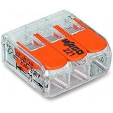 wago svorka pružinová samonosná 3x 0,14 - 4mm 221-413 rozpájacia aj pre vláskové vodiče