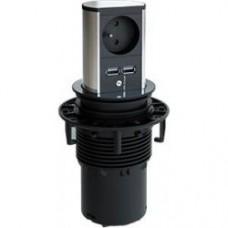 výsuvná zásuvka Bachmann Elevator zásuvka a USB nabíjačka nerezová oceľ 928.020