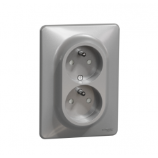 dvojzásuvka aluminium s clonkami Schneider electric Sedna design SDD313211C