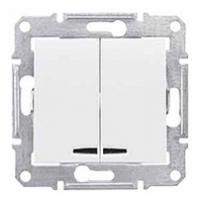dvojpólový vypínač č.5 s orientačným podsvietením, 230V,10A,IP20 biely, SDN0300321