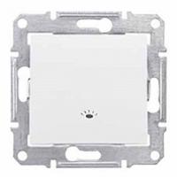 tlačidlo so symbolom svetlo, IP44, 230V,10A,IP20 biele, SDN0900321