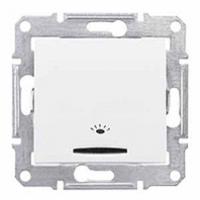 tlačidlo podsvietené so symbolom svetlo, 230V,10A,IP20 biele, SDN1800121