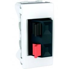 reproduktorová pružinová zásuvka Schneider Unica MGU3.487.18 polárna biela polmodul