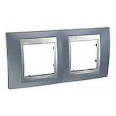 2rámik metalická šedá Schneider Unica Top MGU66.004.097 pre hliníkové vypínače
