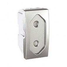 zásuvka vidlicová Schneider Unica MGU3.031.30 hliníkový polmodul