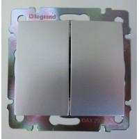 dvojtlačidlo Legrand Valena hliník 770218 hliníkové