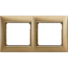 zlato matné/zlatý prúžok 2 rámik Legrand Valena klasik 770302